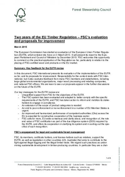Two years of the EU Timber Regulation – FSC's evaluation and proposals for improvement