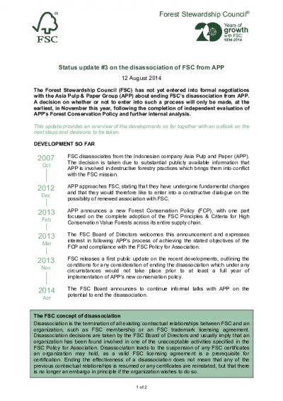 FSC_Update #3 - Status of disassociation from APP_2014-08-12