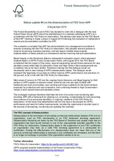 Asia Pulp and Paper (APP) · FSC International