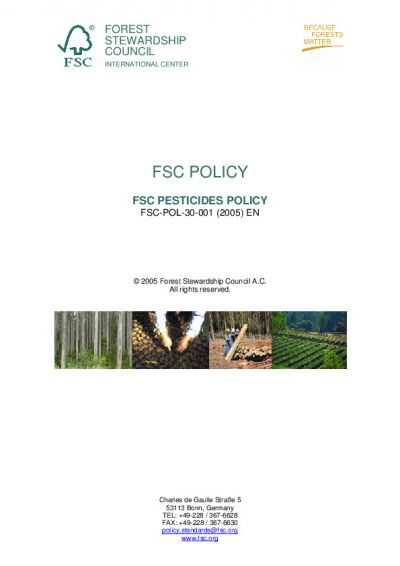FSC-POL-30-001 EN FSC Pesticides Policy 2005