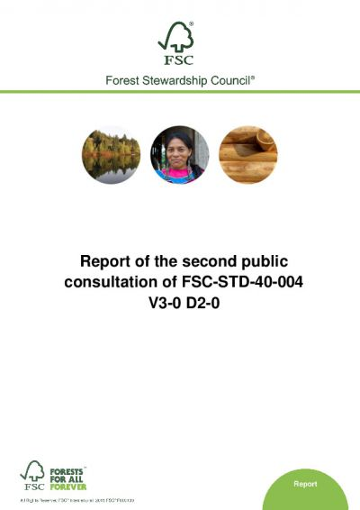 Report on second public consultation FSC-STD-40-004 V3-0 D2-0