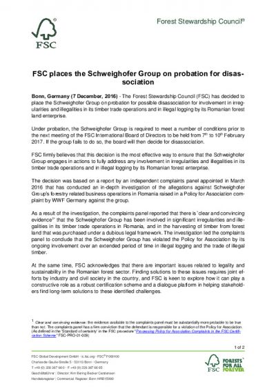 FSC Statement_7 December 2016_Schweighofer