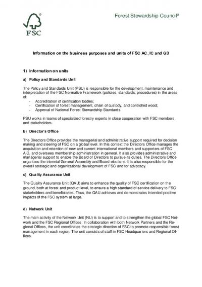 Information on the business purposes and units of FSC AC, IC and GD