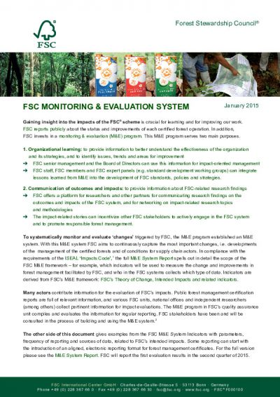 FSC monitoring and evaluation system: at a glance (1 page)