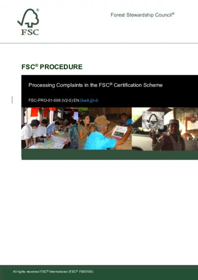 FSC-PRO-01-008 (V2-0) EN Processing Complaints in the FSC<sup>®</sup> Certification Scheme Tracking Changes