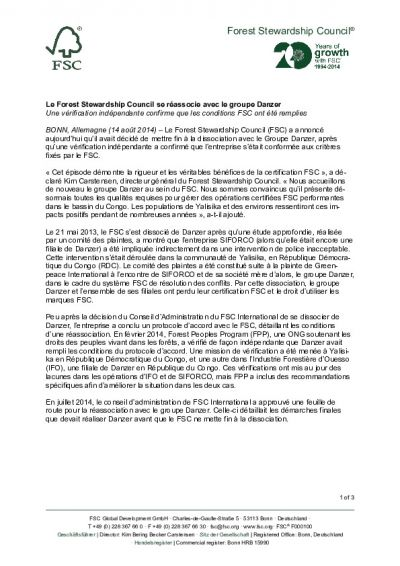 FSC Statement Danzer Re-association FR