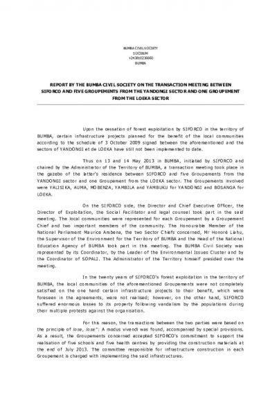 Bumba civil society report of the agreement between Siforco and the communities of Bumba (Annex 3) ENG + FR