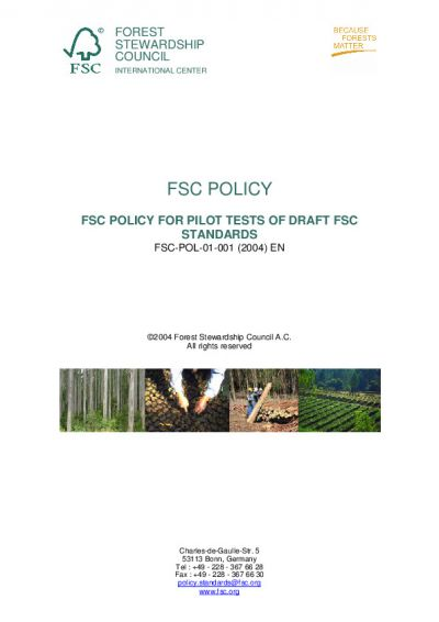 FSC-POL-01-001 'FSC Policy for Pilot Tests of Draft FSC Standards'