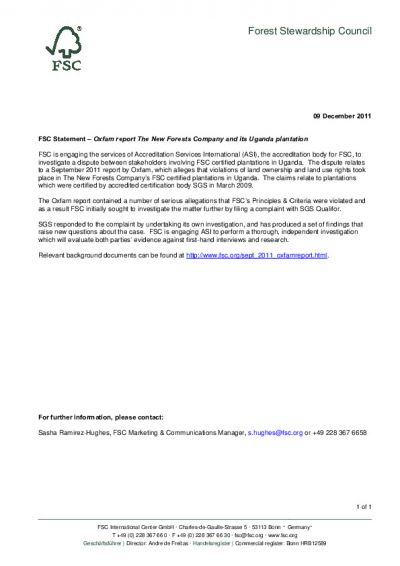 FSC Statement: ASI investigation (9 Dec 2011)