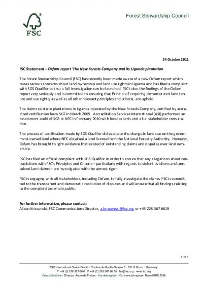 FSC Statement: Complaint and FSC action (24 Oct 2011)