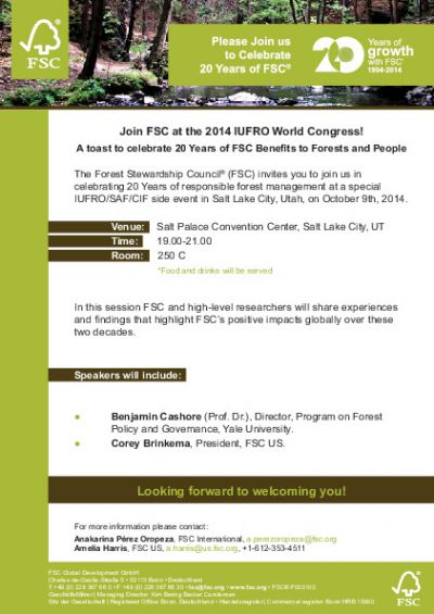 Join FSC at the XXIV IUFRO World Congress