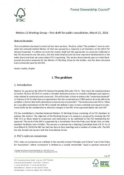 Motion 12 Working Group – first draft for public consultation, March 21, 2016