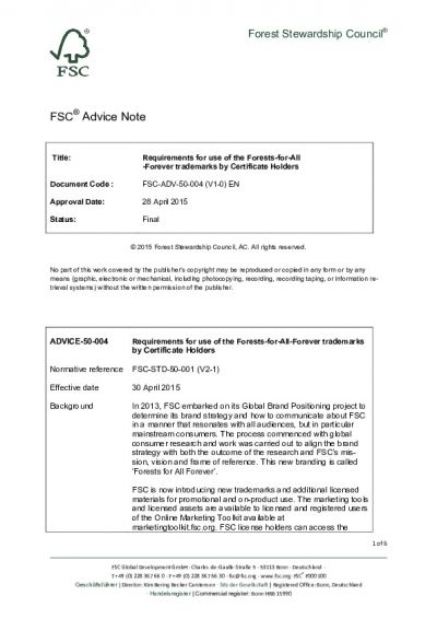 FSC-ADV-50-004 (V1-0) EN Requirements for use of the Forests-For-All-Forever trademarks by Certificate Holders
