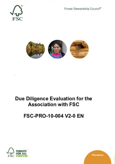 Due Diligence Evaluation for the Association with FSC_FSC-PRO-10-004 (V2-0)