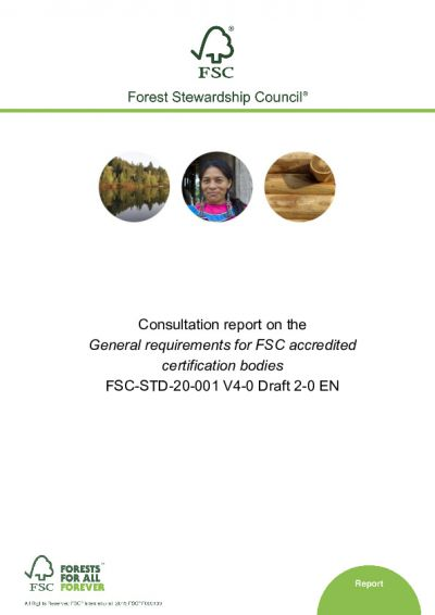 Consultation report FSC-STD-20-001 V4-0 D2-0 EN
