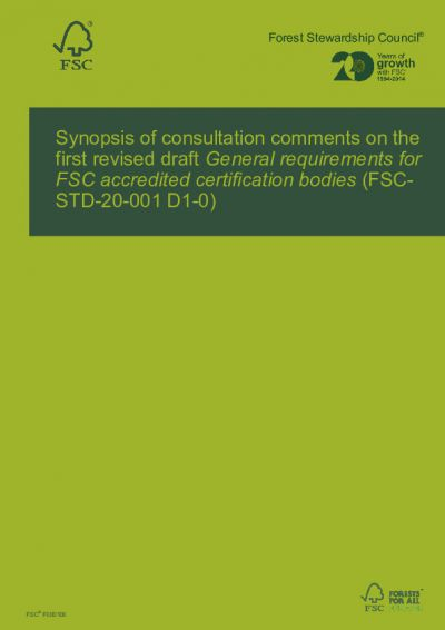 Consultation report FSC-STD-20-001 D1-0 EN