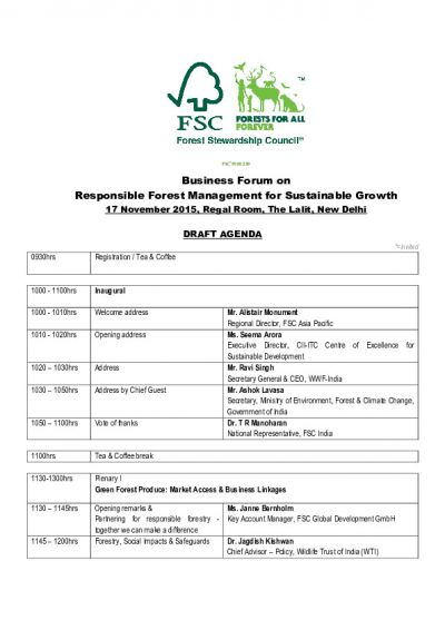 Full agenda FSC Business Forum India 2015 ( draft version)