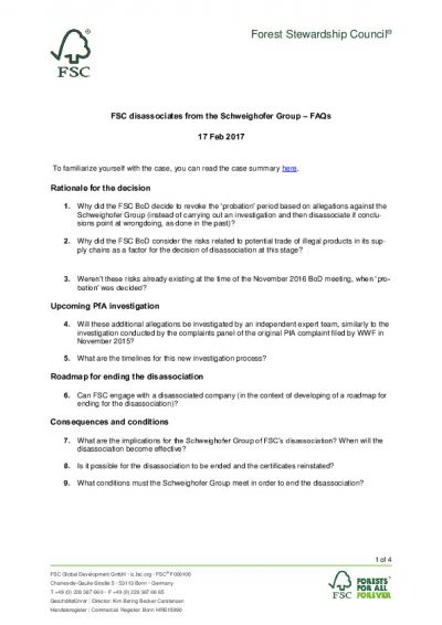FSC disassociation from Schweighofer Group_FAQs_Feb 2017