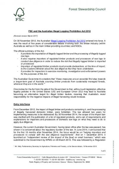 FSC and the Australian Illegal Logging Prohibition Act 2012