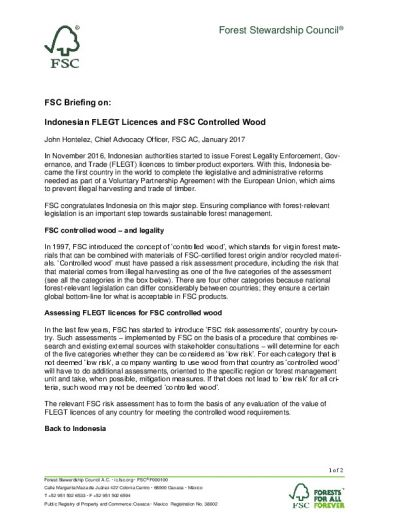 FSC Briefing on Indonesian FLEGT Licences and FSC Controlled Wood