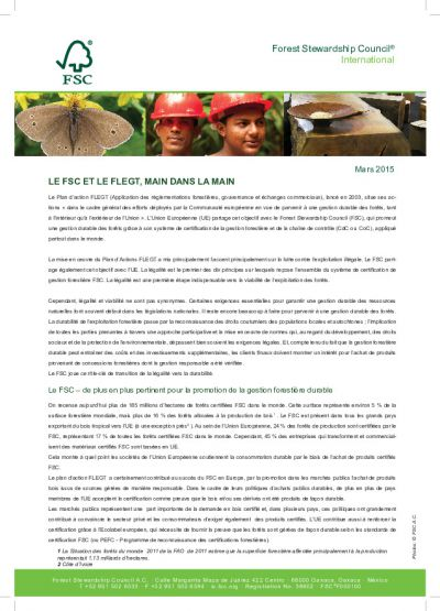 FSC and FLEGT, working Hand in Hand (French language version)