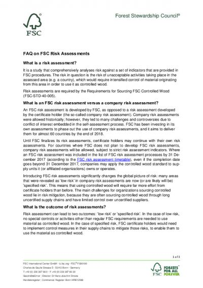 FSC Risk Assessment FAQ (EN)