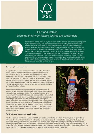 FSC<sup>®</sup> and fashion: Ensuring that forest-based textiles are sustainable