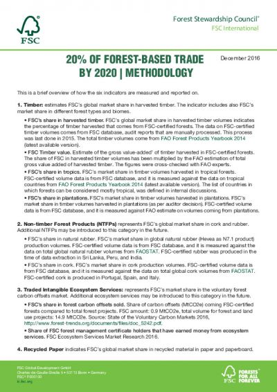 20 PER CENT OF FOREST-BASED TRADE BY 2020 - METHODOLOGY