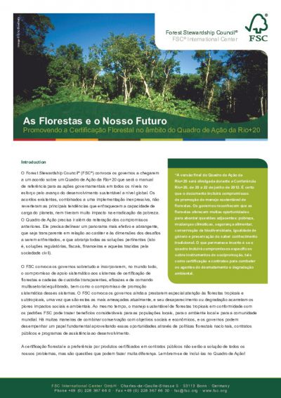 Promoting FSC Forest Certification Rio20 (Portuguese)