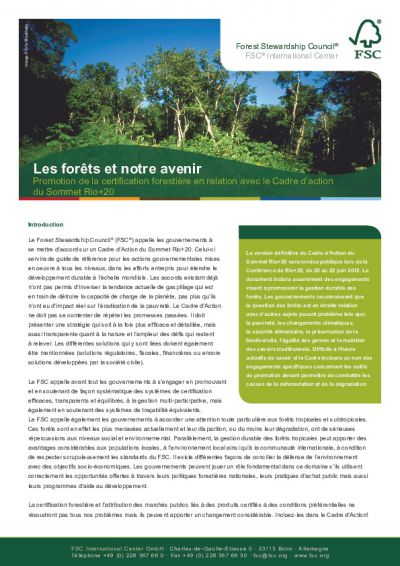 Promoting FSC Forest Certification Rio20 (French)