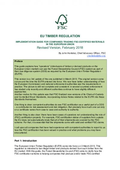 EU Timber Regulation: implementation guide for companies trading FSC certified materials