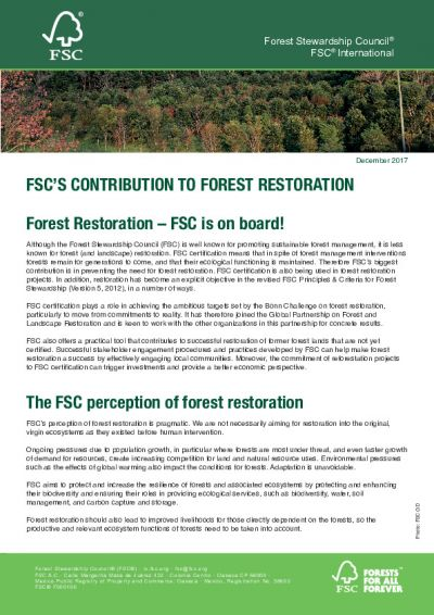 FSC'S Contribution to Forest Restoration