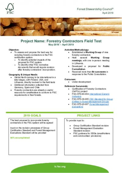 Forestry Contractors Field Test