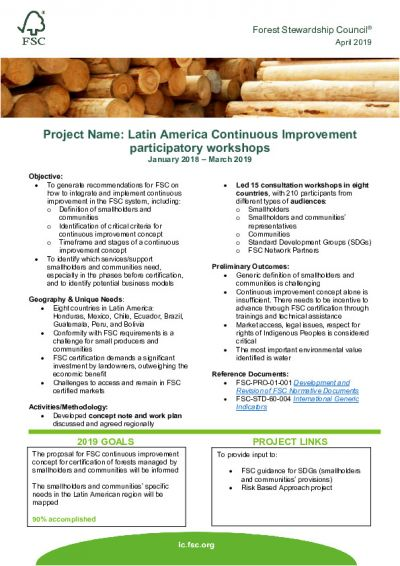 Latin America Continuous Improvement participatory workshops