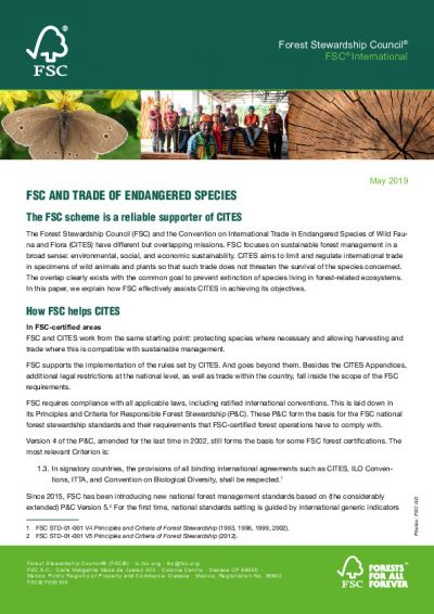 FSC and Trade of Endangered Species