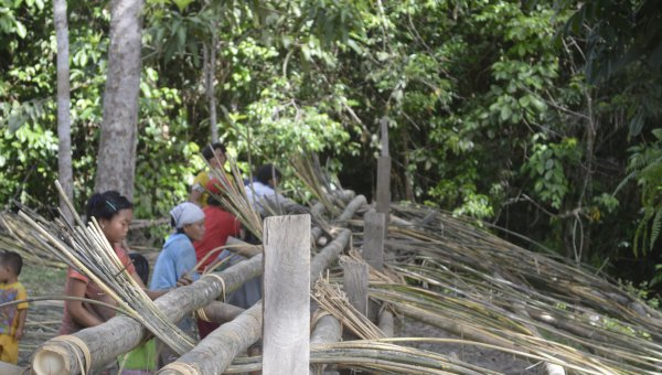 Traditional rattan processing in Tewang Tampang village (© Gani Masayusi / WWF-Indonesia)